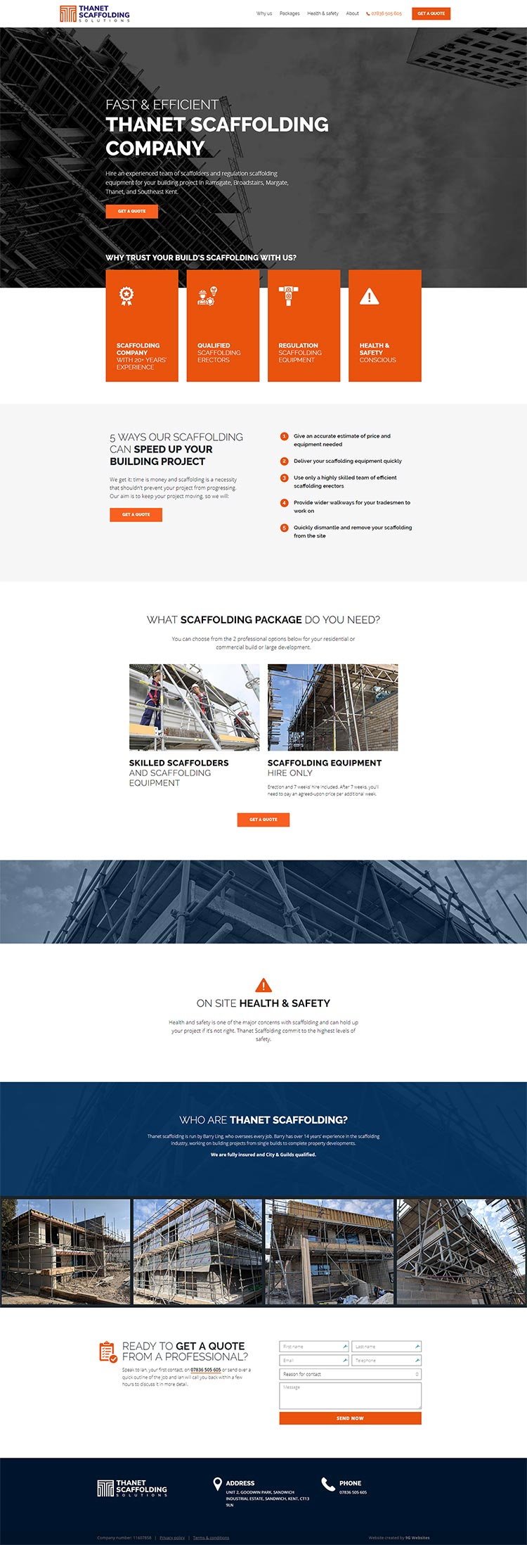 Thanet Scaffolding website single page whole thing