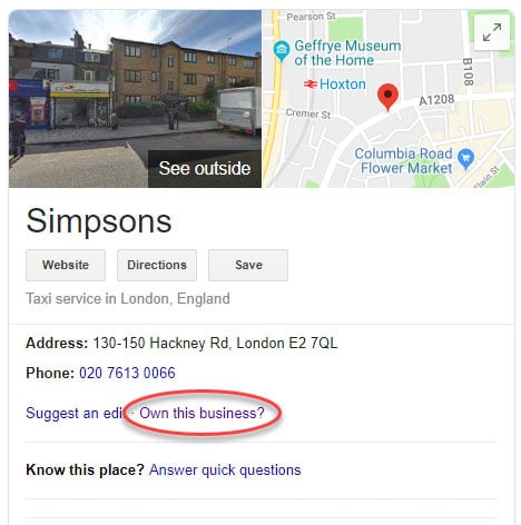 Unclaimed Google My Business listing